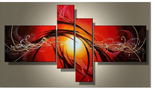 Current fashion canvas painting red abstract art 4 piece for Imagenes de cuadros abstractos famosos