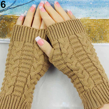 Winter Arm Warmer Elbow Gloves Long Fingerless Mitten Knitted Soft for student office worker