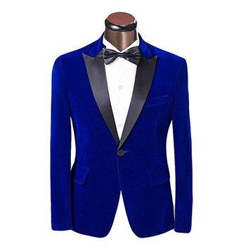 New elegant blue velvet black lapel single breasted groom dress jacket men's business jacket and prom dress custom made