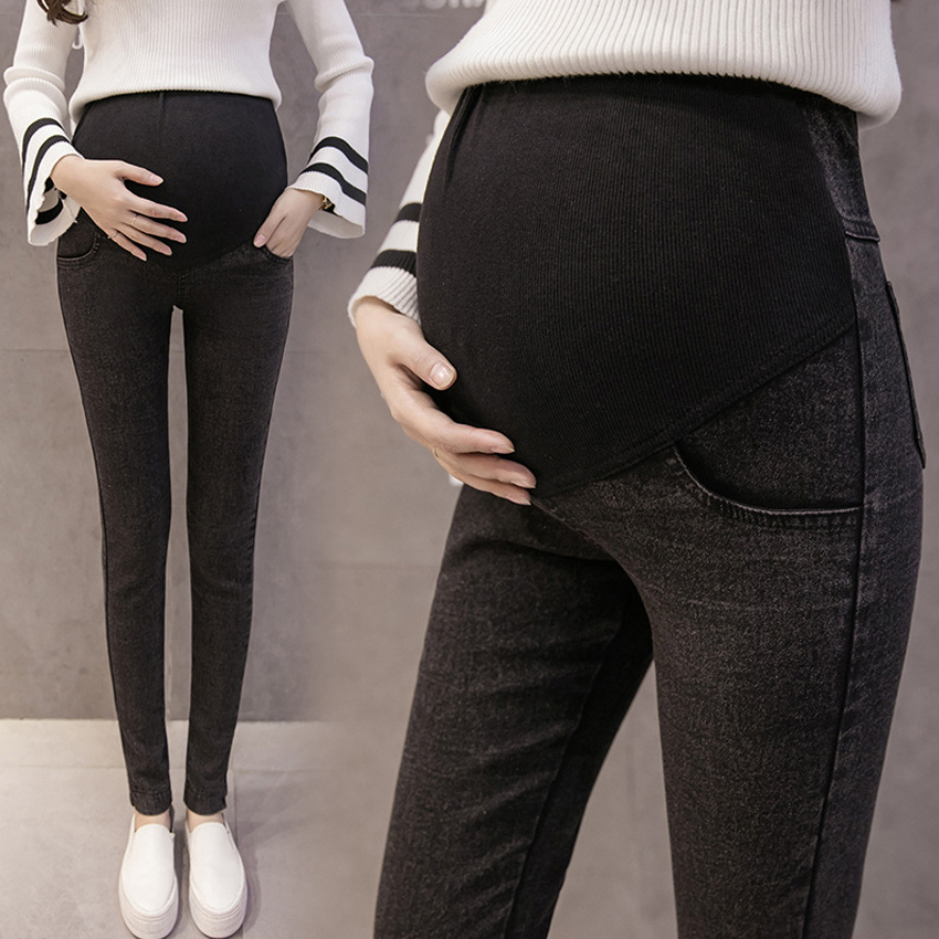 Maternity Clothes Elastic Soft Maternity Jeans Cotton Skinny Pregnancy Pants Trousers for Pregnant Women Spring Summer Clothing image