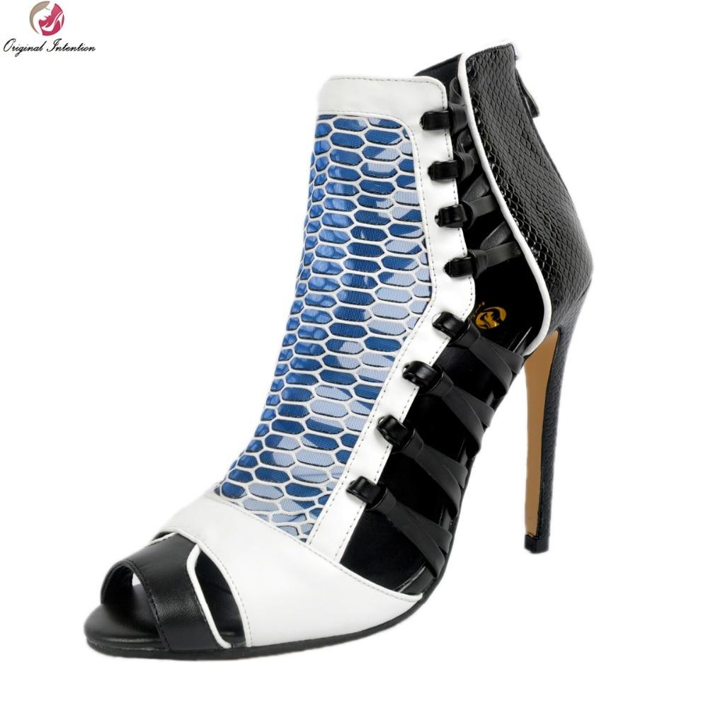 Style Femme Mode L'intention Nous Nouveau 15 Xd267 Talons Muliticolors Minces Plus Taille Femmes Sandales Toe Peep Chaussures Sexy 4 Initiale EvvrqpwO