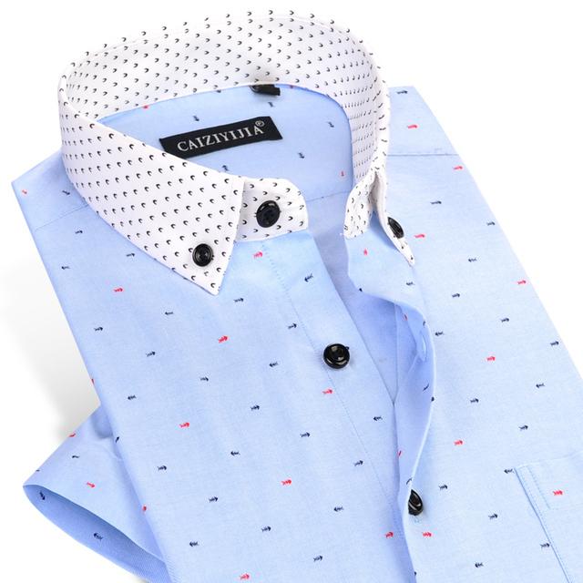 CAIZIYIJIA Verão Novos Homens Da Moda Camisa de Manga Curta Casuais Ossos de Peixes Impressão Camisa Dos Homens Vestido de Marca Plus Size Patchwork Floral