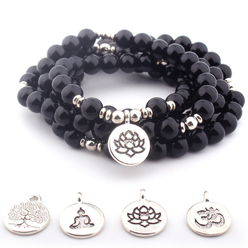 DIEZI Vintage 108 Mala Obsidian Beads Buddha lotus Tree Of Life OM Charm Bracelets Men Natural Stone Crystal Bracelet Women