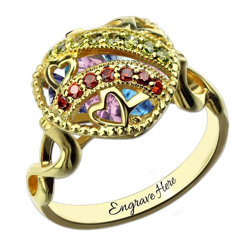 Bague de naissance en gros avec Cage de cœur ouvrable bague de médaillon personnalisée couleur or anneau symbole infini et coeur cadeau de fête des mères