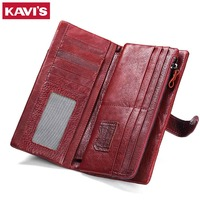 KAVIS 2017 Luxury Brand Womens Wallets And Purses Female Genuine Leather Coin Purse Long For Girl