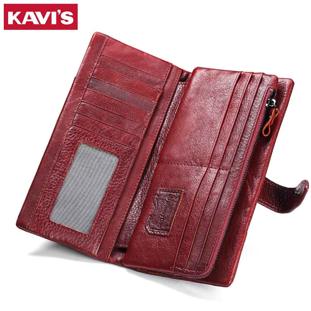 KAVIS 2018 Luxury Brand Womens Wallets And Purses Female Genuine Leather Coin Purse Long For Girl Card Holder Handy Money Bag