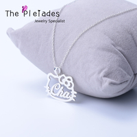 Hollow Out Cat Pendant With Custom Name Necklace 925 Solid Silver Personalized Cute Jewelry Special Gift