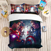 Justice League Iron Man 3D Penutup Set Marvel Super Hero Selimut Penutup Sarung Bantal Selimut Seprai Set Bruce Wayne Superman(China)