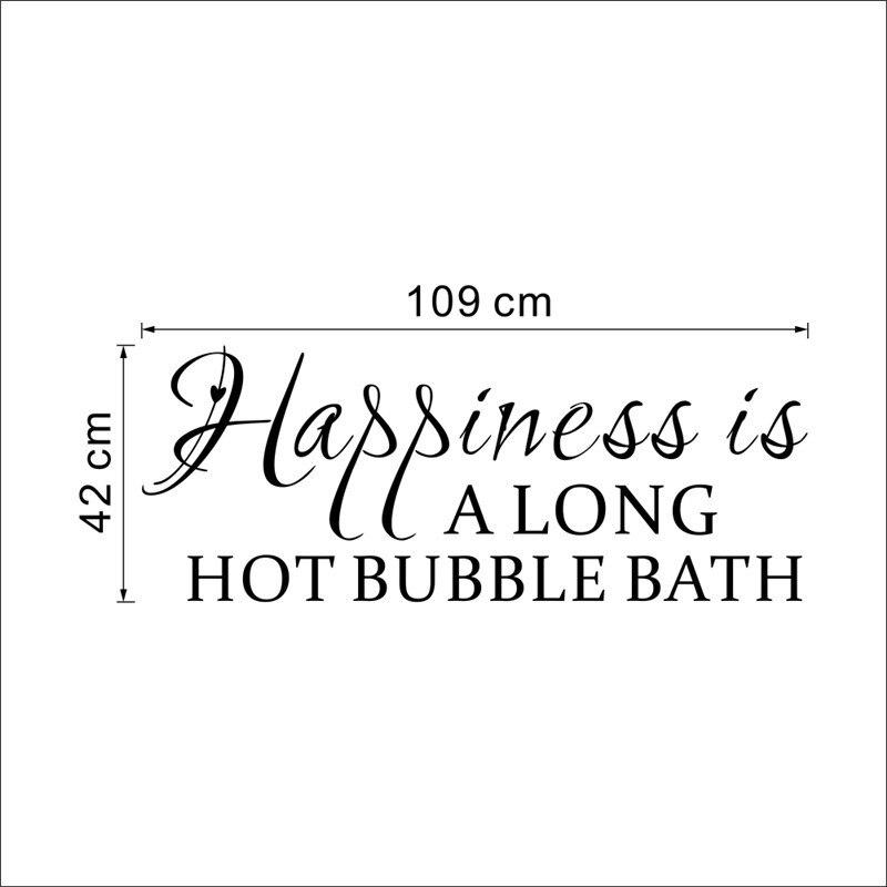 u0026 happiness is a long hot bubble bath quotes wall stickers bathroom home decor 3d vinyl removeable posters decalin wall stickers from home