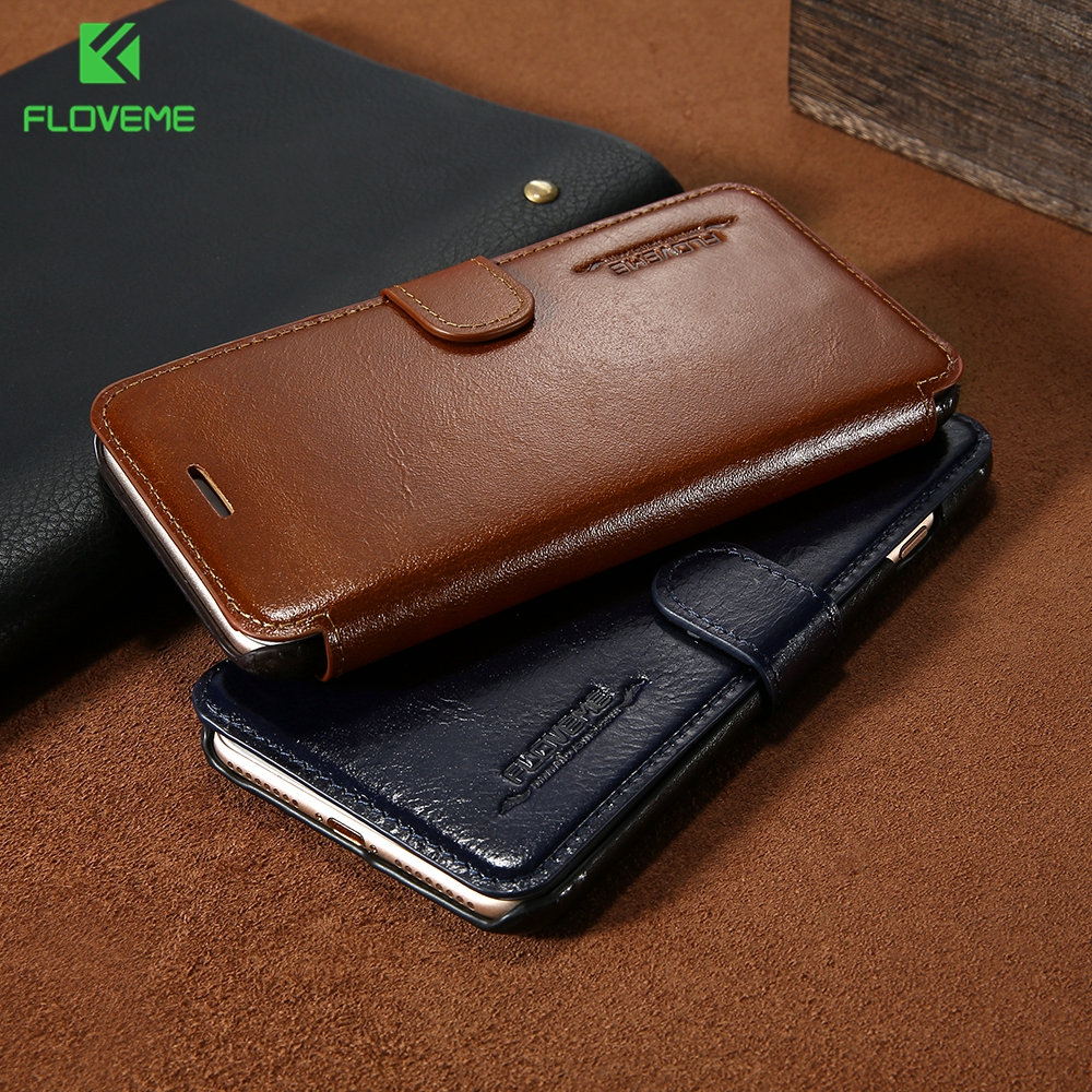 FLOVEME Vintage Flip Leather Case for iPhone 7 6 6S Cover with Card Holder Luxury Wallet Case for iPhone 7 7 Plus 6 6S Plus Capa