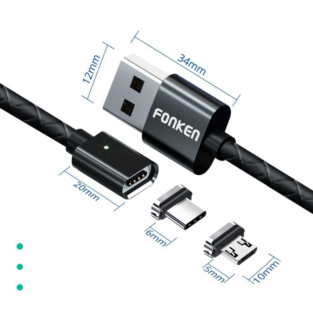 Fonken Magnetic Micro USB Magnet Kabel USB Tipe C Pengisian Kabel Telepon 3A Ponsel Cepat Kabel Charger Android Data Cepat kabel