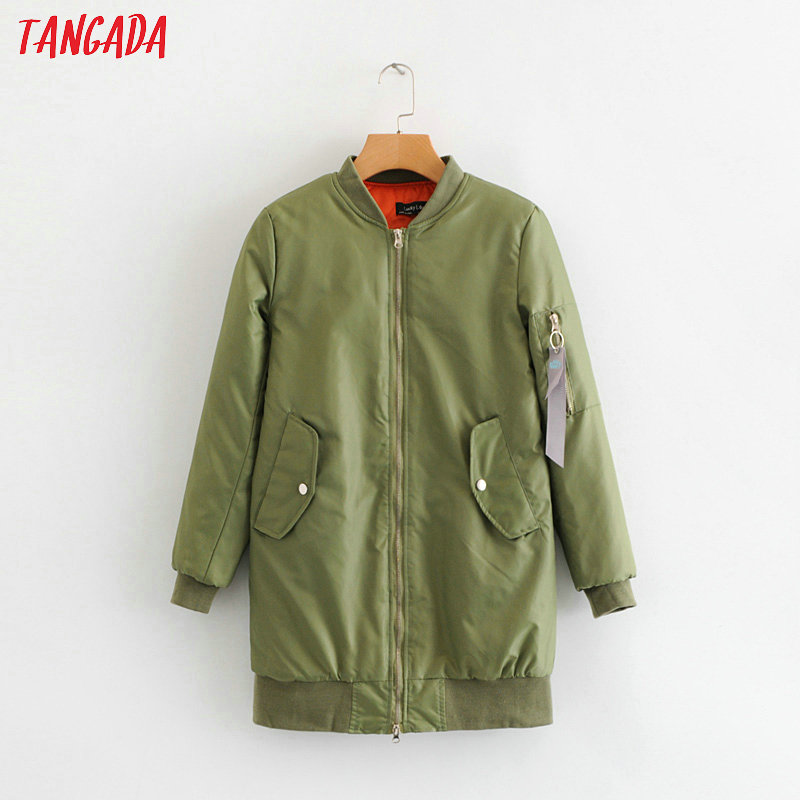 Tangada women winter jacket quilted high street cotton padded coat pocket casual green warm   parka   for female SY77