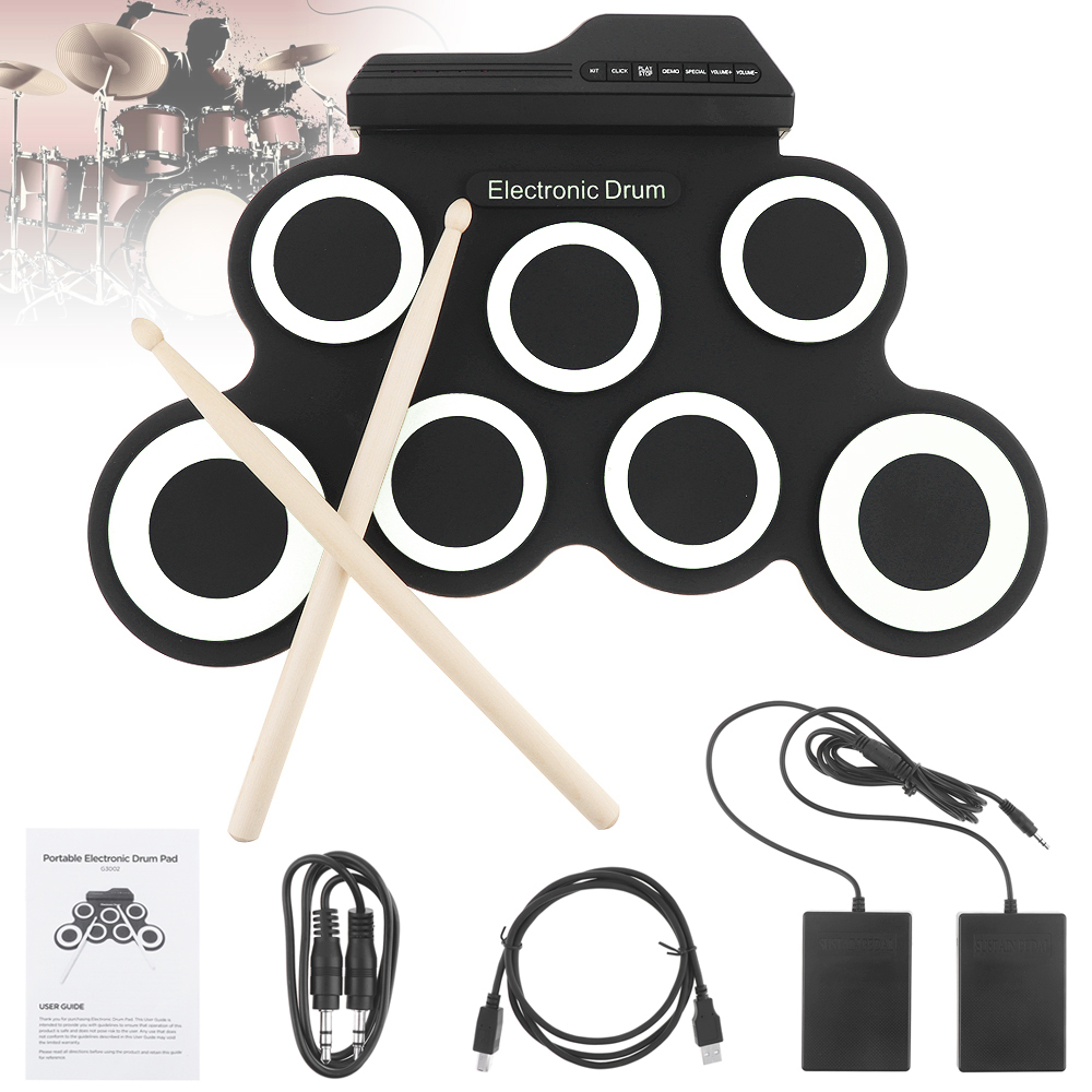 Portable Electronic Digital USB 7 Pads Roll up Set Silicone Electric Drum Kit with Drumsticks and Sustain PedalPortable Electronic Digital USB 7 Pads Roll up Set Silicone Electric Drum Kit with Drumsticks and Sustain Pedal