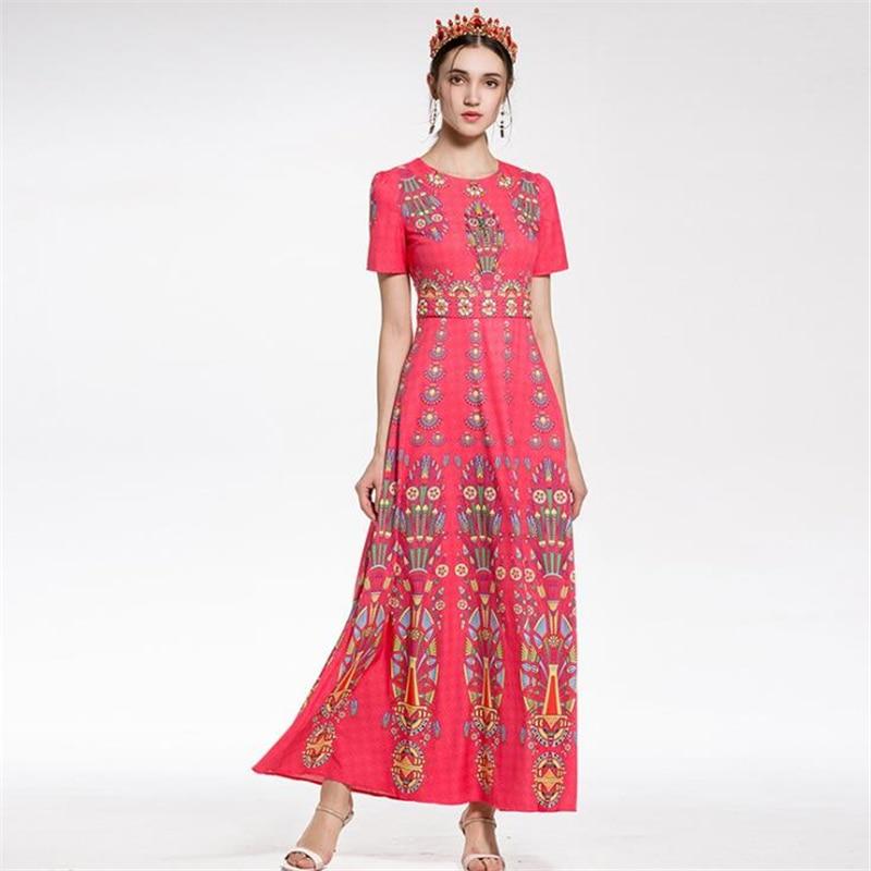 UNIQUEWHO Girls Women Vintage Print Dress Luxury Beading Maxi Dress Long Slim Elegant Evening Party Dresses Spring Summer Dress