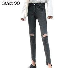 QUECOO S-XL 2017 новый джинсы колено отверстия эластичный стрейч тонкие узкие ноги брюки женские джинсы женщин