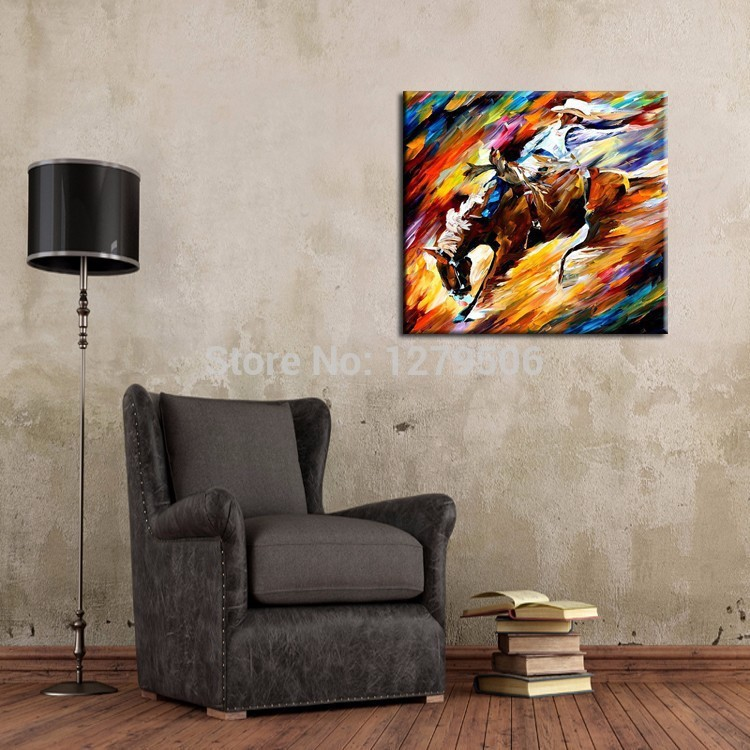Abstract Painting Abstract Riding Horse Cowboy Oil Painting On Canvas Frameless Decor Horse Pictures For Bed Room Decoration.jpg