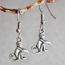 Vintage Silver Monkey Drop Earrings For Women Hanging Dangle Earrings Statement Earrings Girls Newest Fashion Jewelry
