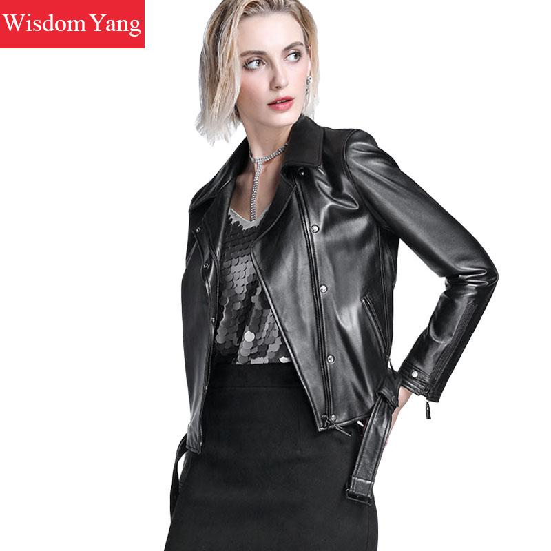 Autumn Black Real Sheepskin Genuine Leather Jackets Short Coat Womens 2018 Zipper Overcoat Ladies Bomber Jacket Coats Outerwear leather jacket