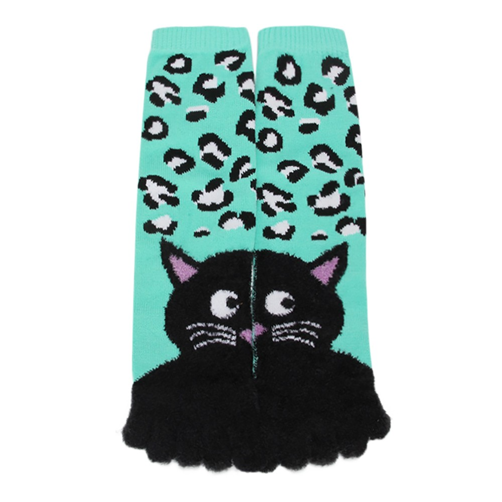 Winter Socks Women Black Cat Printing Unisec Multicolor Toe Socks Five Finger Sock Cotton Funny Cute Low Cut Ankle Sock 90 hockey sock