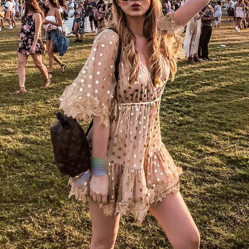 CHICEVER Сетчатое платье в стиле пэчворк, женское платье в горошек с вышивкой, v-образным вырезом, расклешенными рукавами, с завязками, с высокой талией, мини-пляжные платья, летняя Новинка