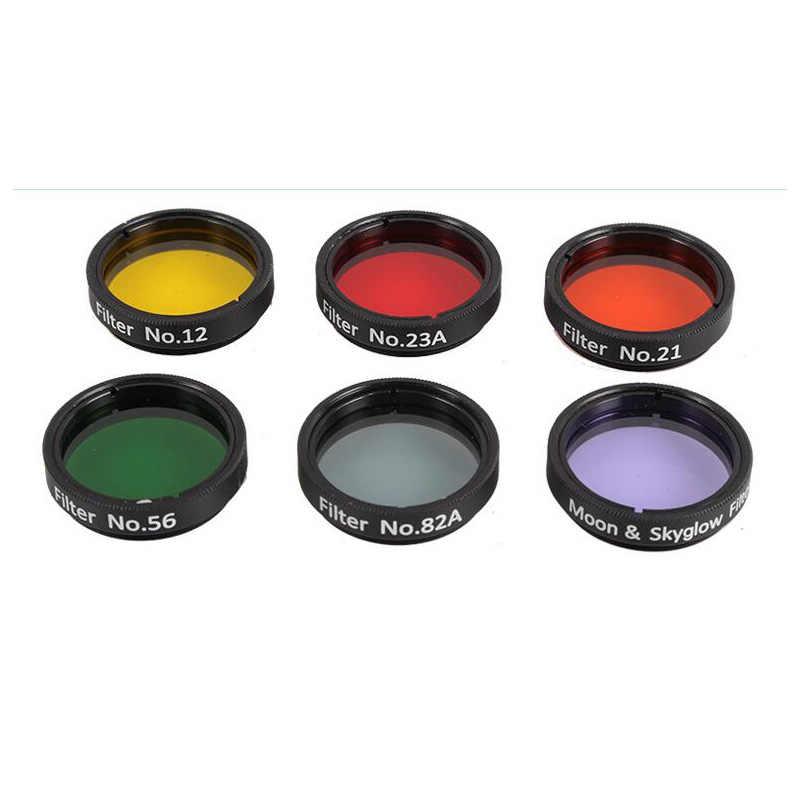 Angeleys 접안 렌즈 필터 천문 망원경 안구 렌즈 행성 및 성운 필터 moon skyglow 6 색 선택 1.25 인치
