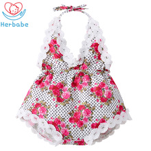 Herbabe 2019 Summer Baby Girls Bodysuits for Newborns Cotton Floral Sleeveless Dresss Girl Clothes Infant Toddler Jumpsuit