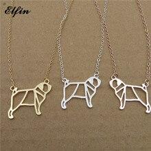 Elfin 2017 Trendy Origami Pug Necklace Gold Color Silver Color Dog Jewellery Pug Pendant Necklace Women Steampunk