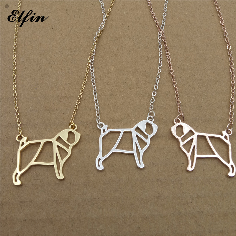Elfin 2018 Trendy Origami Pug Necklace Gold Color Silver Color Dog Jewellery Pug Pendant Necklace Women