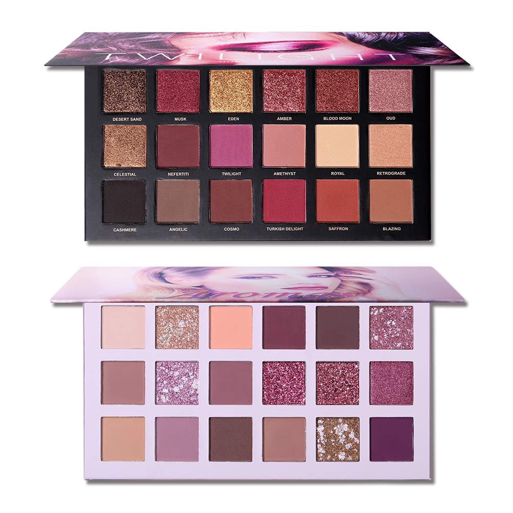 UCANBE Twilight Dust +Aromas Nude Eyeshadow Palette Makeup Set Matte Shimmer Glitter Pressed Pearl Highly Pigmented Silky Powder