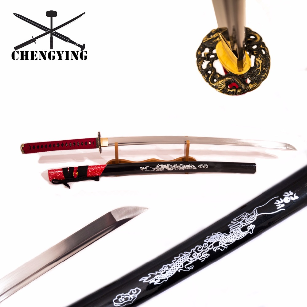 1060 Steel oil quenching katana sword Chinese dragon style red and black theme image