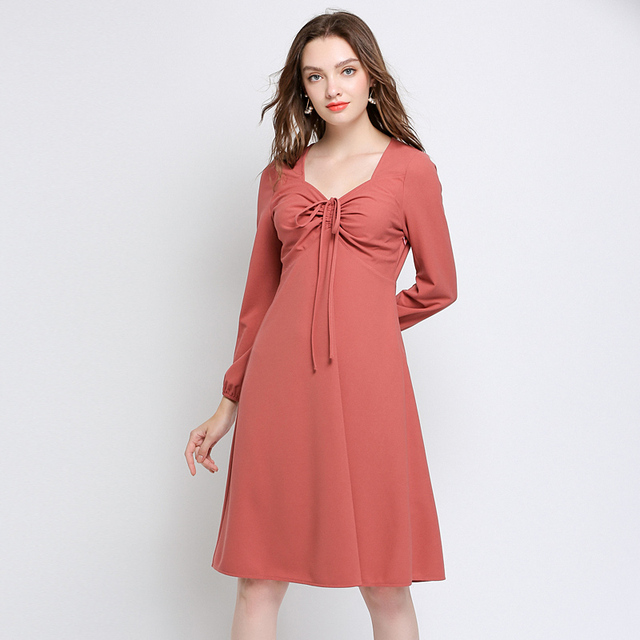 Women Pink Dress Autumn Plus Size 2018 Office lady Girl Casual Work Solid Party Sexy Elegant Fashion Long Sleeve Autumn Dress5xl