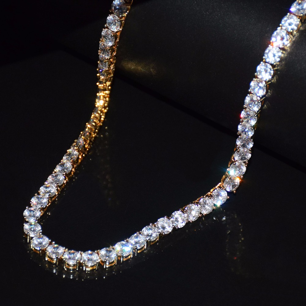 4mm 5mm 6mm 1 Row Tennis Chain Zircon Necklace Hip Hop Jewelry Gold Color Copper Material Men Rock Link 18inch 20inch