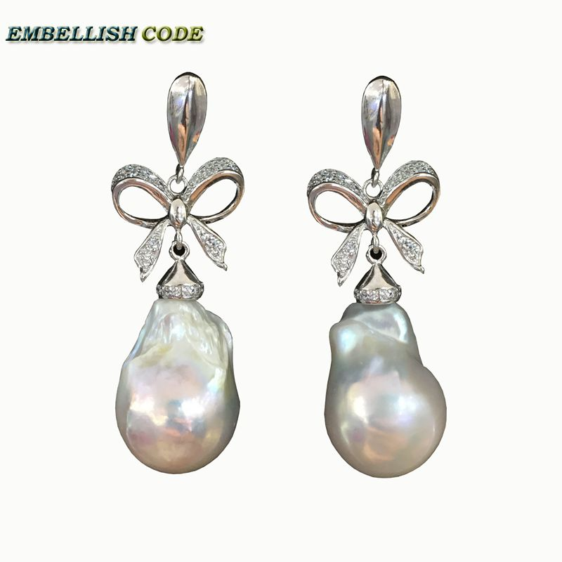 baroque pearls Bowknot style noble dangle earrings white color flame ball tissue nucleated freshwater pearl 925 silver for women