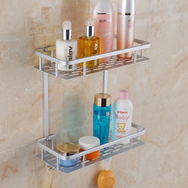 2 Tier Aluminum Installation Corner Bathroom Shelf Bath Shelves With ...