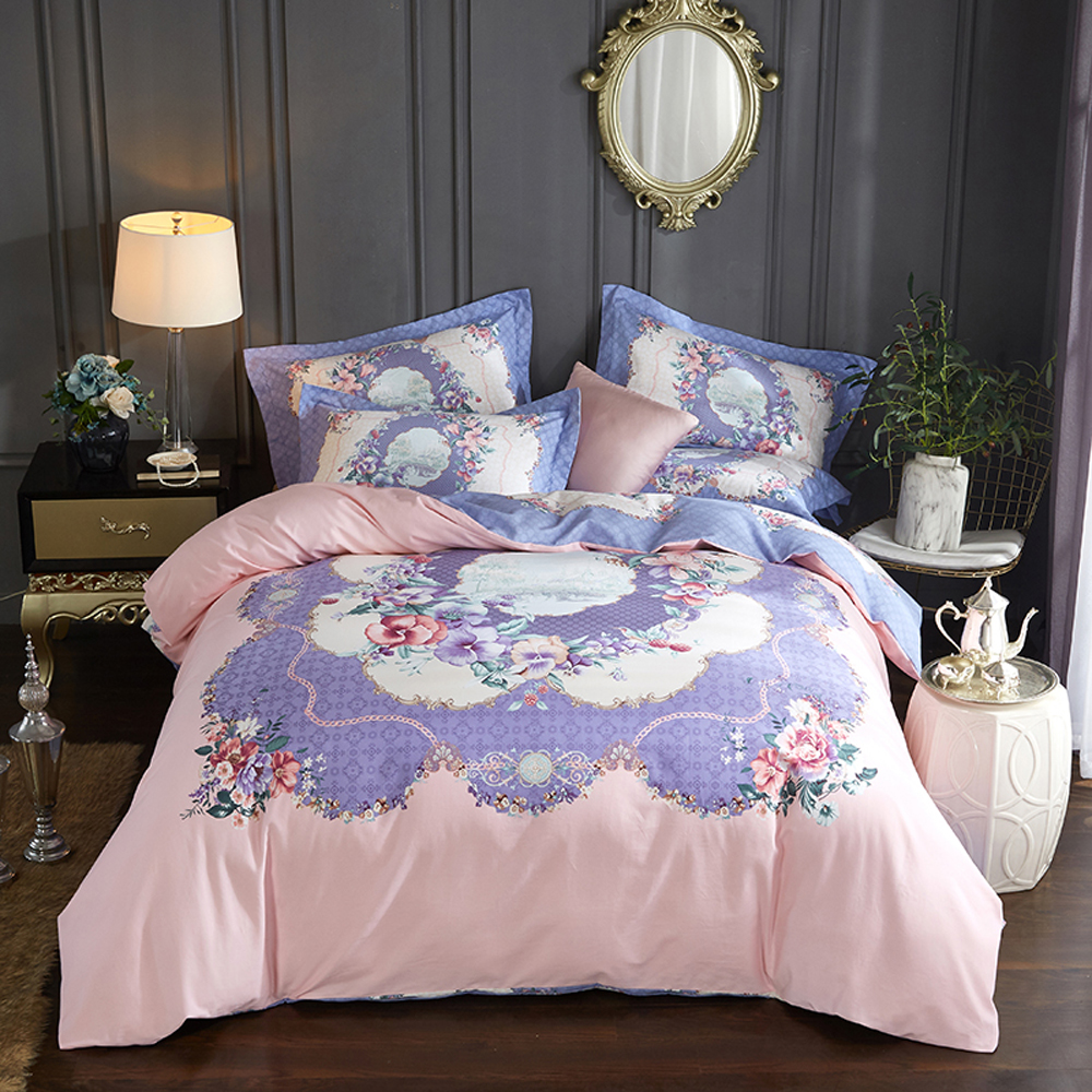 2018 European Flowers Pink Purple Bedding Set Winter Thick