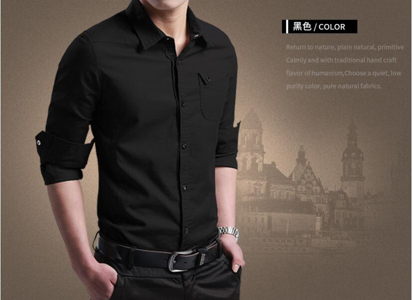 Brand 2018 Fashion Male Shirt Long-Sleeves Tops Slim Casual Solid Color Mens Dress Shirts Slim Men Shirt Larg A189-A197