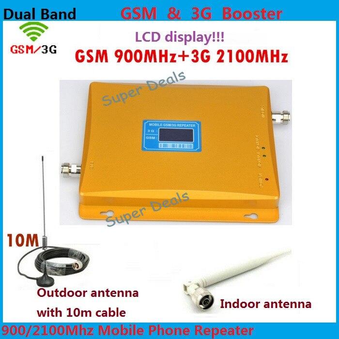 Double bande GSM 3G booster avec écran d'affichage du Signal, y compris antenne et câble, répéteur de W-CDMA GSM 1 ensemble à 900 2100 MHz