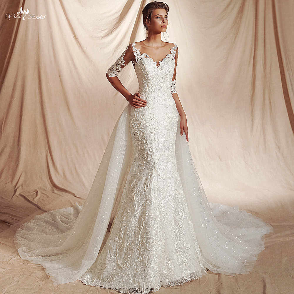 RSW1478 New Arrival Real Job Luxury Sequin Lattice Shine Glitters Fabric 3/4 Sleeves Mermaid Detachable Wedding Dress 2 in 1