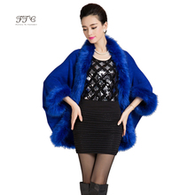 2016 New Fashion Women Winter Long Wool Cashmere Faux Fox Fur Coat Cardigan For Women Poncho Knitted Sweater Women Scarves