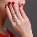 Platinum Plated Wedding Rings With Cubic Zirconia Jewelry Red Color Big Party Ring For Women