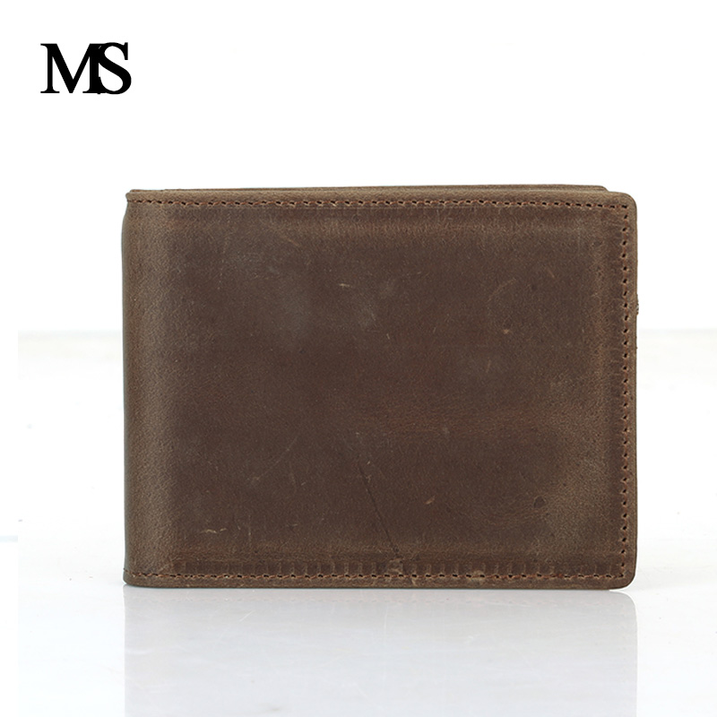 MS Hight Quality Men Wallet Short Skin Wallets Purses Fashion Genuine Leather Money Clips Sollid Thin Wallet For Men TW1601 1 in Wallets from Luggage Bags