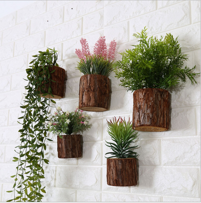 Artificial plants simulation vertical wood wall flower for Blumentopf wand