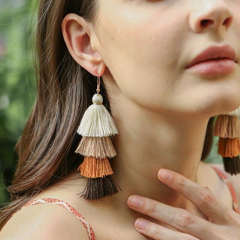 Hot Bohemian Fringe Long Gradient Multilayer Drop Earrings Women Fashion Jewelry Dangle Silk Fabric Ethnic tassel earrings strap