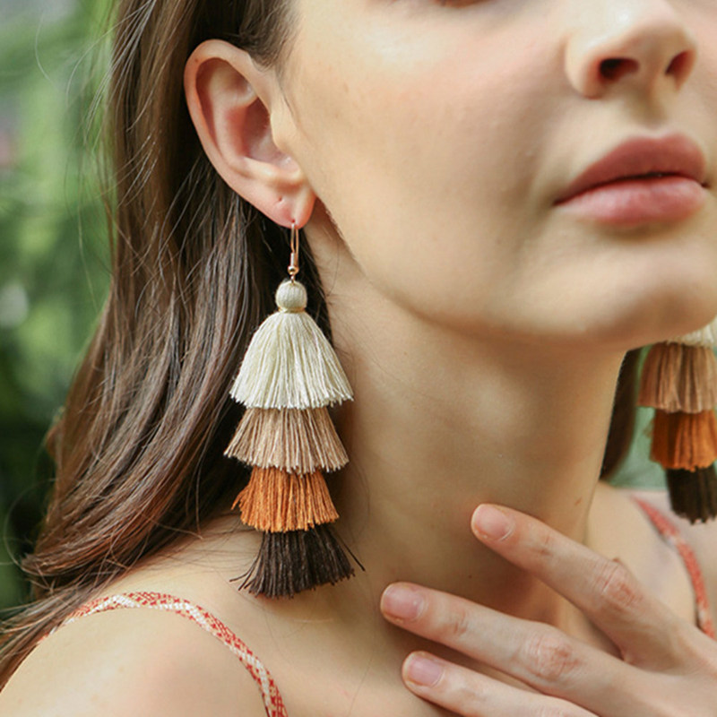 Hot Bohemian Fringe Long Gradient Multilayer Drop Earrings Women Fashion Jewelry Dangle Silk Fabric Ethnic Tassel Earrings