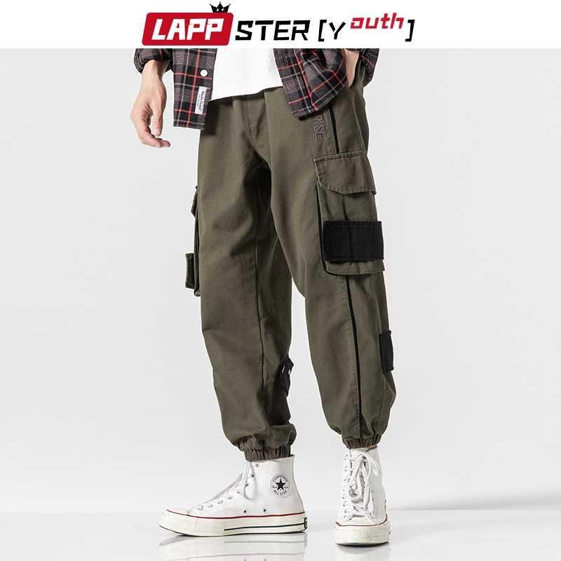 Lappster 男性リボンストリートハーレム貨物パンツ 2020 ヒップホップスウェットパンツオーバーオールメンズヴィンテージルーズ黒ジョギングポケット 5XL