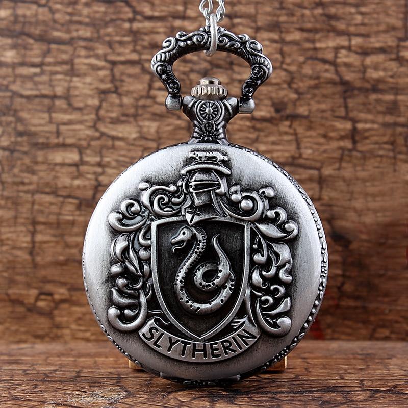 Винтажные Серебристые карманные часы «Хогвартс», «Волшебная школа», «Слизерин Когтевран» с цепочкой и подвеской, подарок для мужчин и женщ...