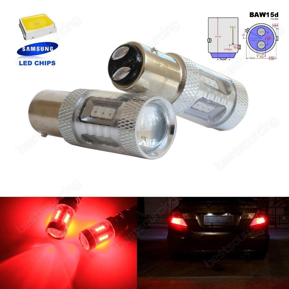 все цены на 2pcs PR21/5W BAW15d 380R Bulb Red SAMSUNG 15 SMD LED Reverse Brake Tail Light(CA317) онлайн