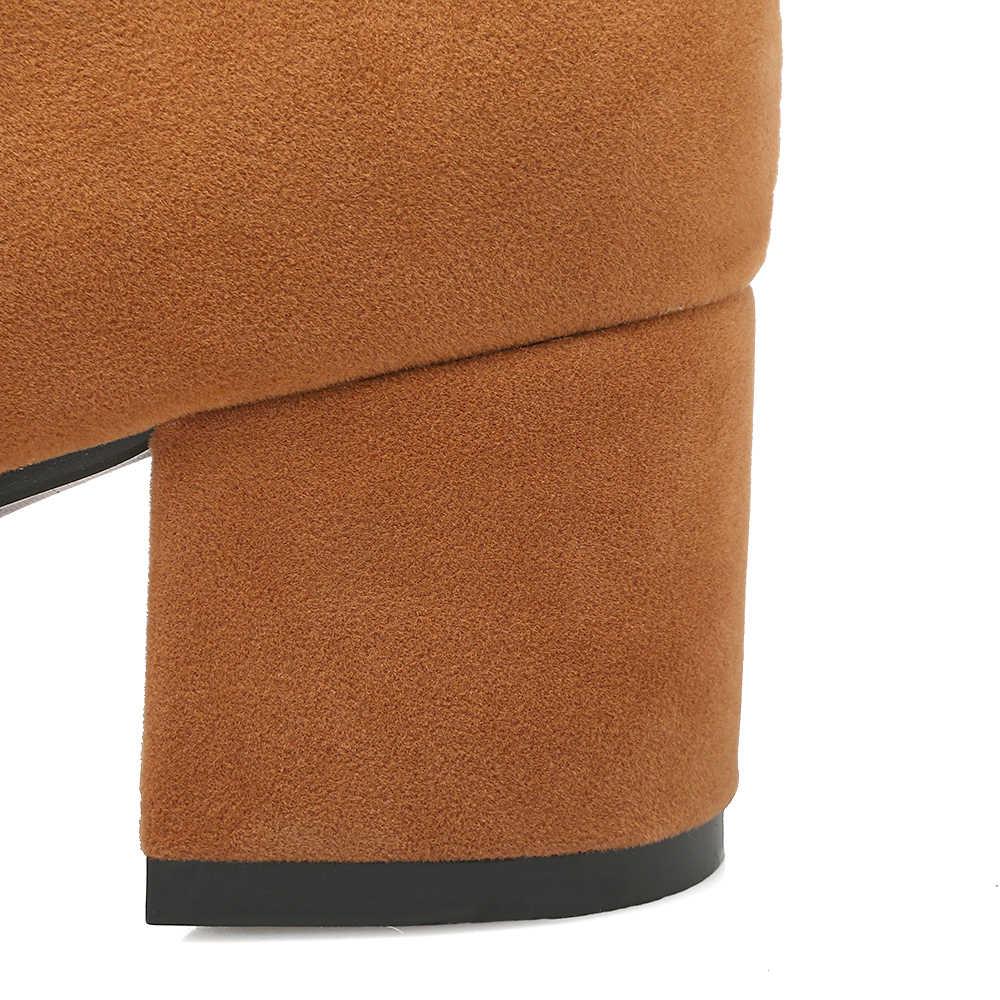 SHININGTHROUGH Seksi Yüksek Topuk Diz Botları Marka 2018 Tasarımcı Toka Kayış Kış Çizmeler Yan Fermuar Kadın Ayakkabı