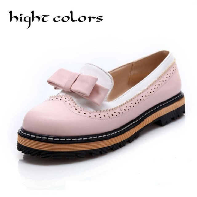 Fashion Vintage Womens Carved Sweet Slip-On Loafers Flat Shoes For Women Low Heels Round Toe Oxford Brogue Shoes Plus Size34-43