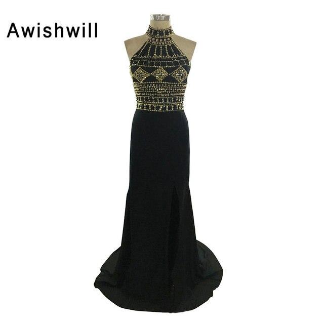 f552315ef Foto Real 2019 Color negro sin mangas Halter burletes barato largo vestidos  De noche vestido De